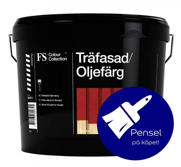 Unika FS Colour Collection - Träfasad Oljefärg Röd 3L med pensel - Fa QC-21
