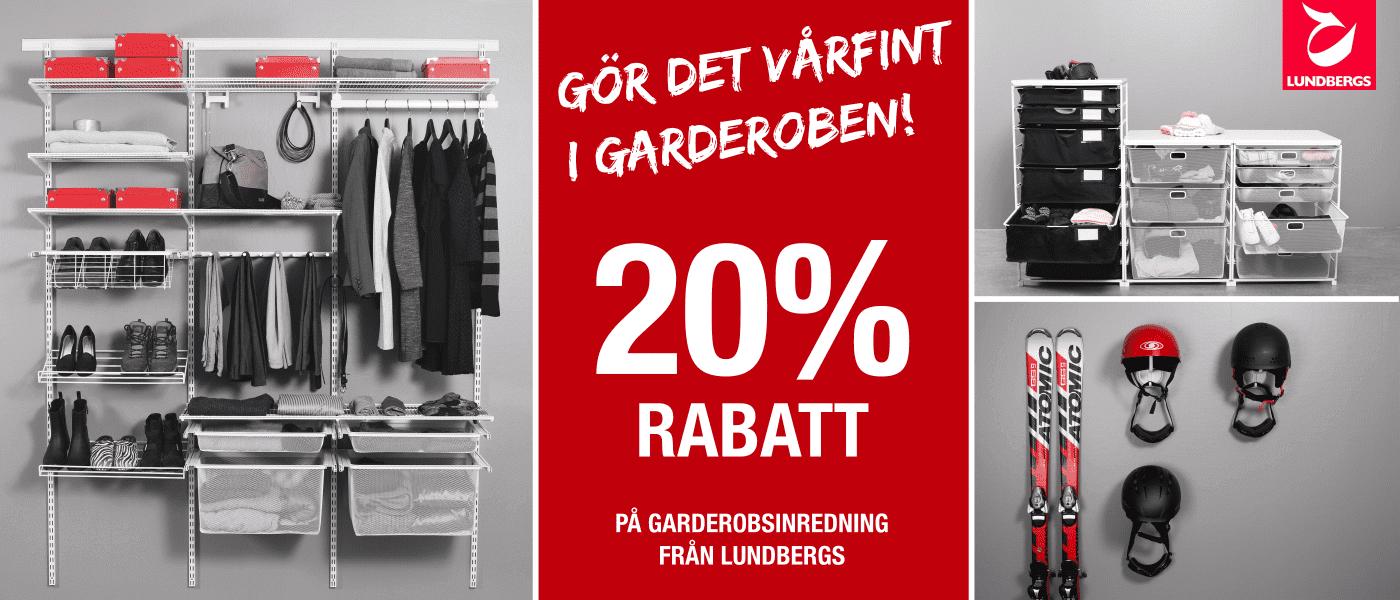 Lundbergs Garderobsinredning 20% Rabatt